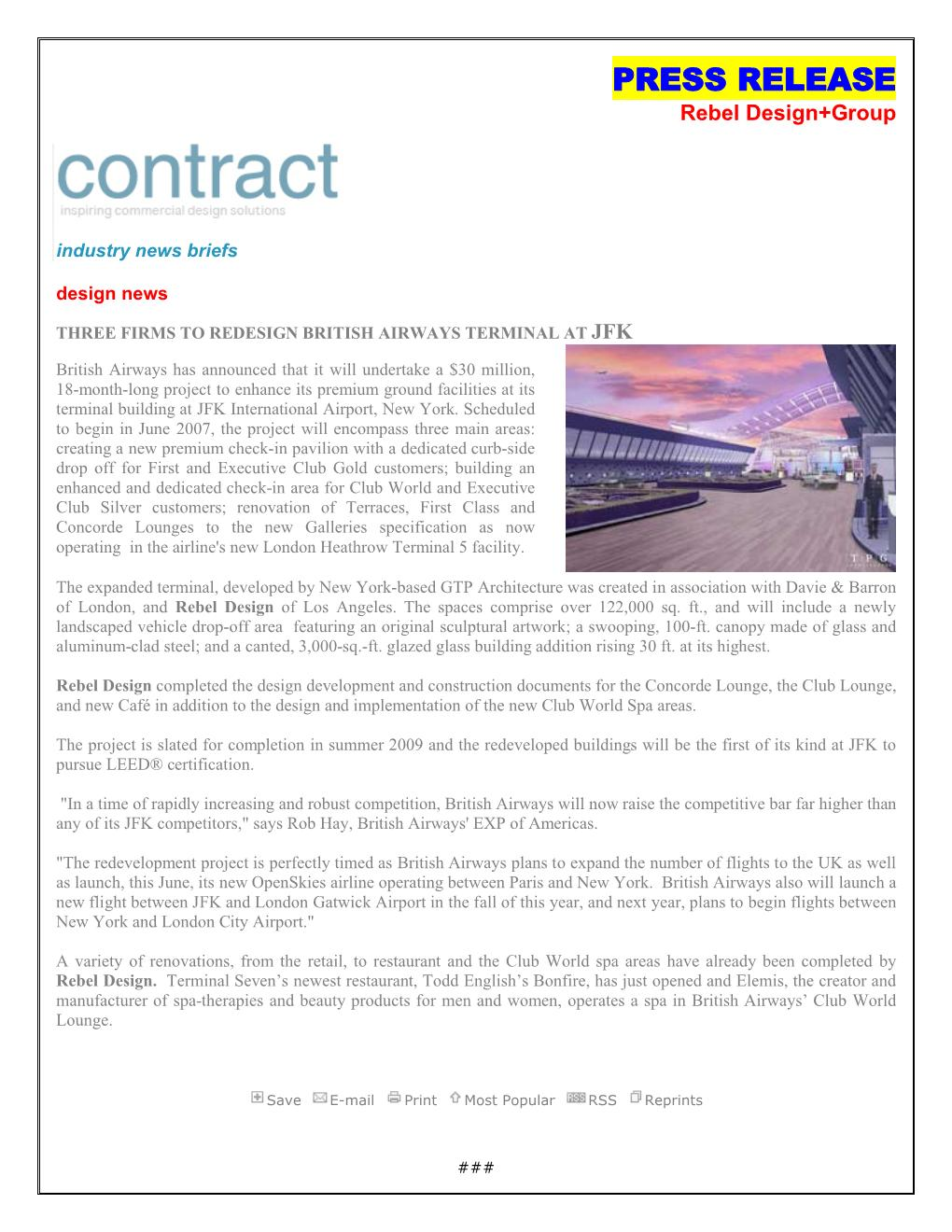 Interior Design Contract Part - 46: CONTRACT MAGAZINE /JFK Re- Rebel Design | Hotel Design | Hotel Designers |  Hotel Interior
